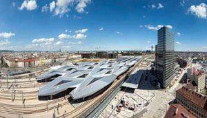 Panoramski pogled na kompleks nove stanice u centru Beča