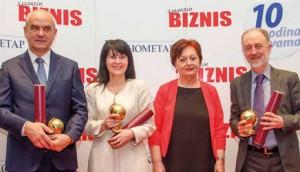 """Dobitnici priznanja """"Planeta Biznis"""" za rezultate postignute u 2015. godini: Miloš Jelić (Nelt), Biljana Jovanović (Luna), Goran Milićević (Komercijalna banka) i Radojka Nikolić"""